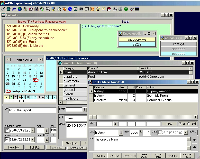Click to view A-PIM (All-in-1 Personal Information Manager) 4.0.35 screenshot